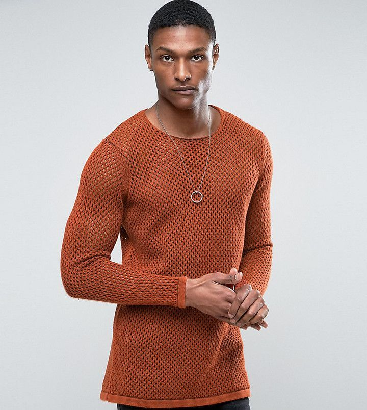 Asos TALL Longline Knitted Textured Mesh Sweater in Rust