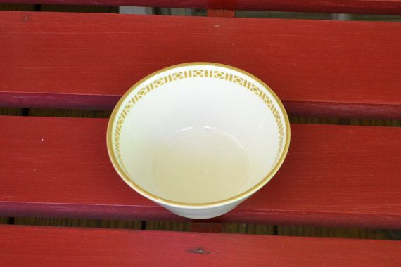 Vintage Syracuse China Cereal Bowl Gold White Made by PanchosPorch