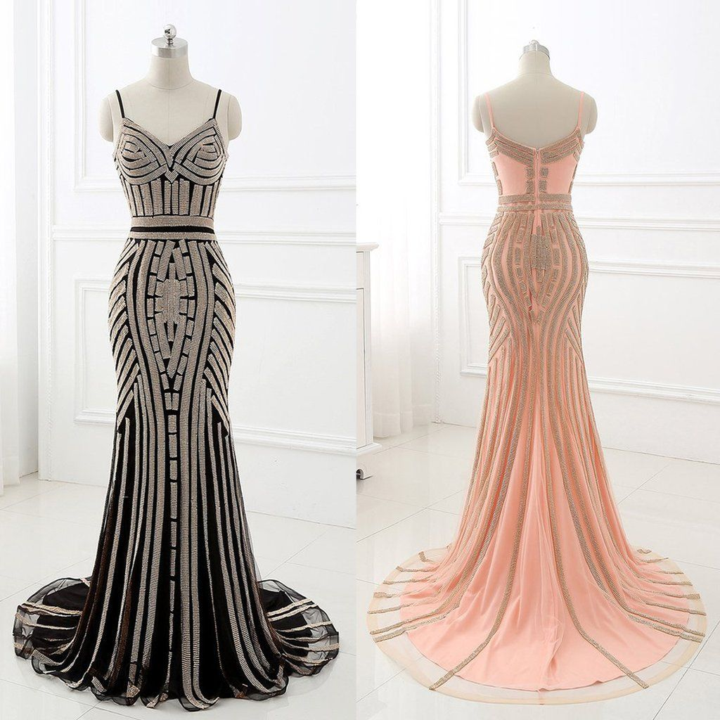 Crystal Embellished Prom Dress Great Gatsby Prom Dresses 1920s Prom Dress Long Mermaid Dress [ 1024 x 1024 Pixel ]