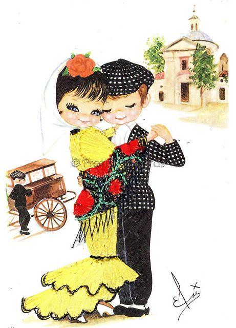 Chulapos de Madrid   Ilustraciones vintage, Felicitacion de santo ...