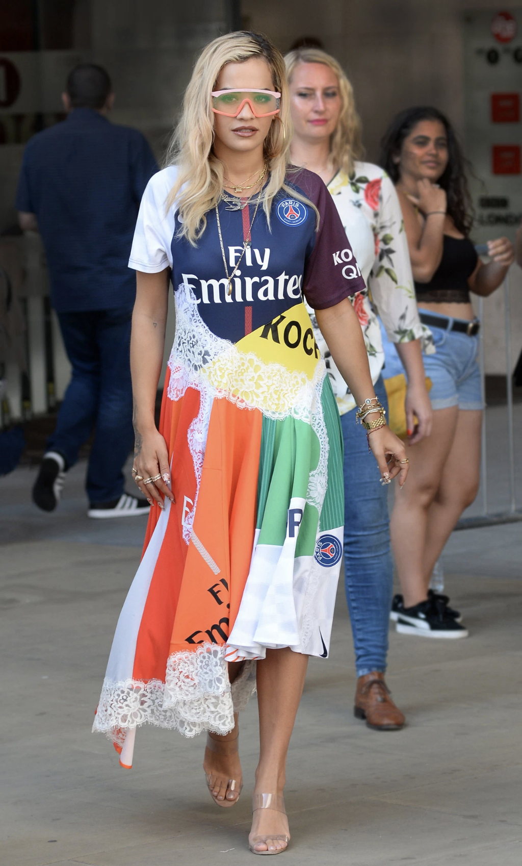 Koche X Paris Saint Germain Football Jersey Dress As Seen On Rita Ora Football Jersey Dress Rita Ora Rita Ora Style