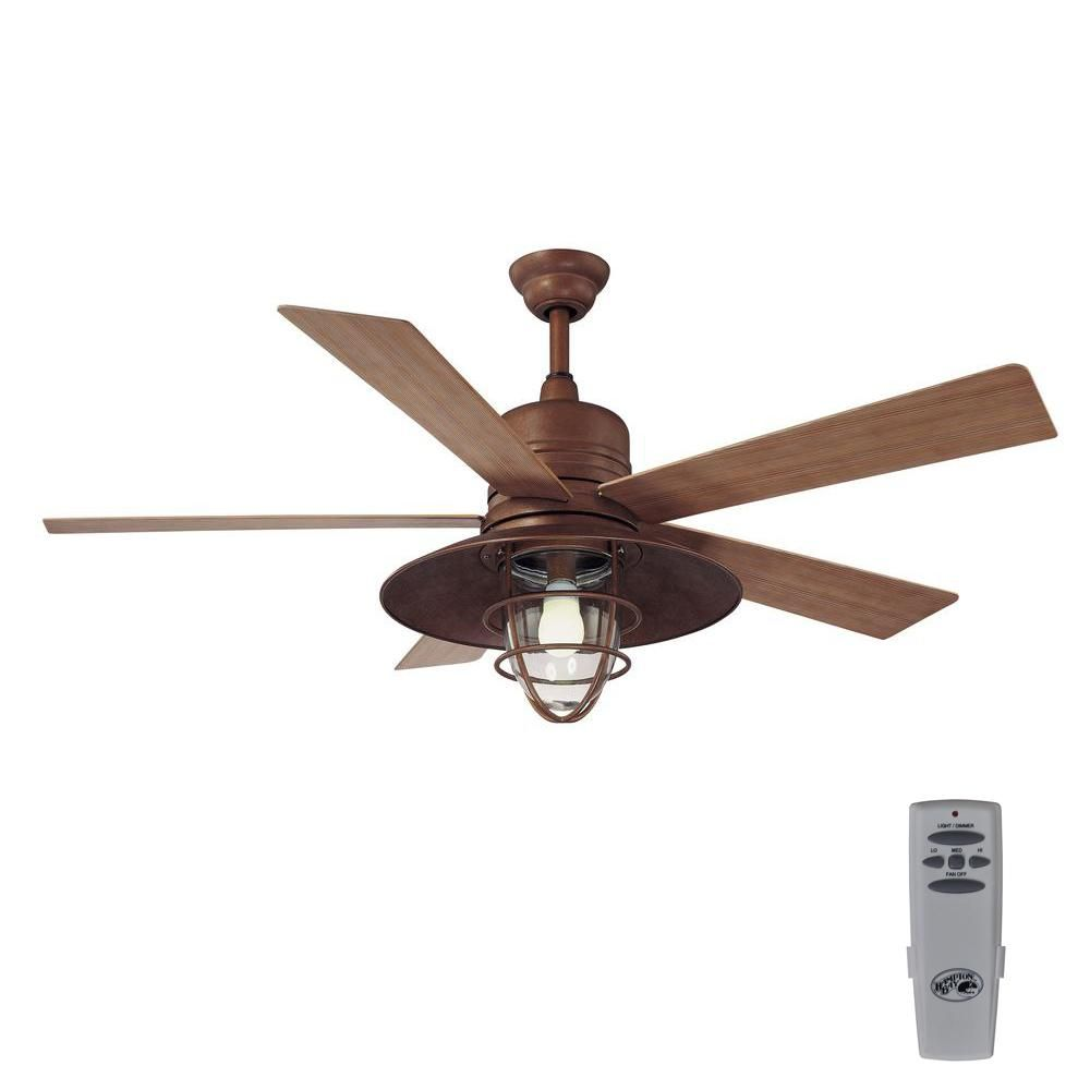 Indoor Outdoor Rustic Copper Ceiling Fan With Light Kit And Remote Control