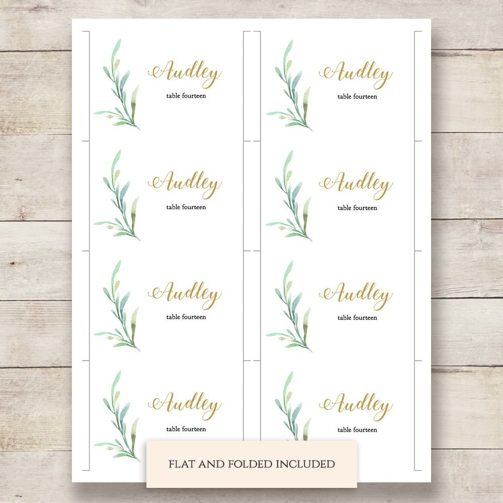 Greenery Wedding Table Place Card Template Flat And Folded Wedding Place Card Templates Place Card Template Place Card Table Wedding
