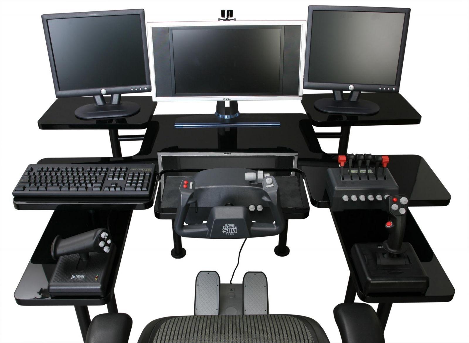 Best Custom Gaming Desk Setup With Multiple Monitors In Black Gaming Computer Desk Custom Gaming Computer Computer Room