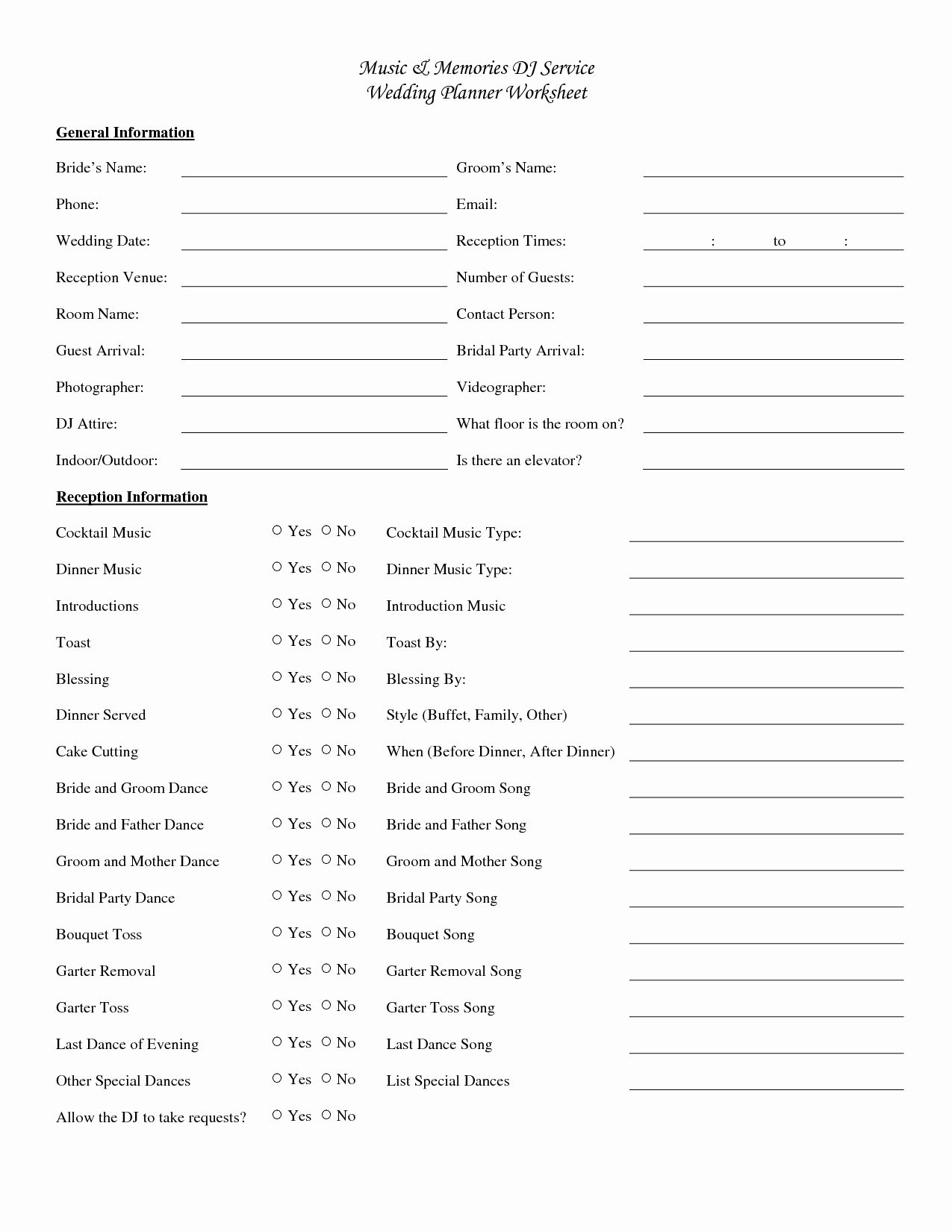 Event Planning Form Template Inspirational Wedding Music Checklist Printable In 2020 Wedding Planning Worksheet Wedding Reception Timeline Wedding Reception Checklist