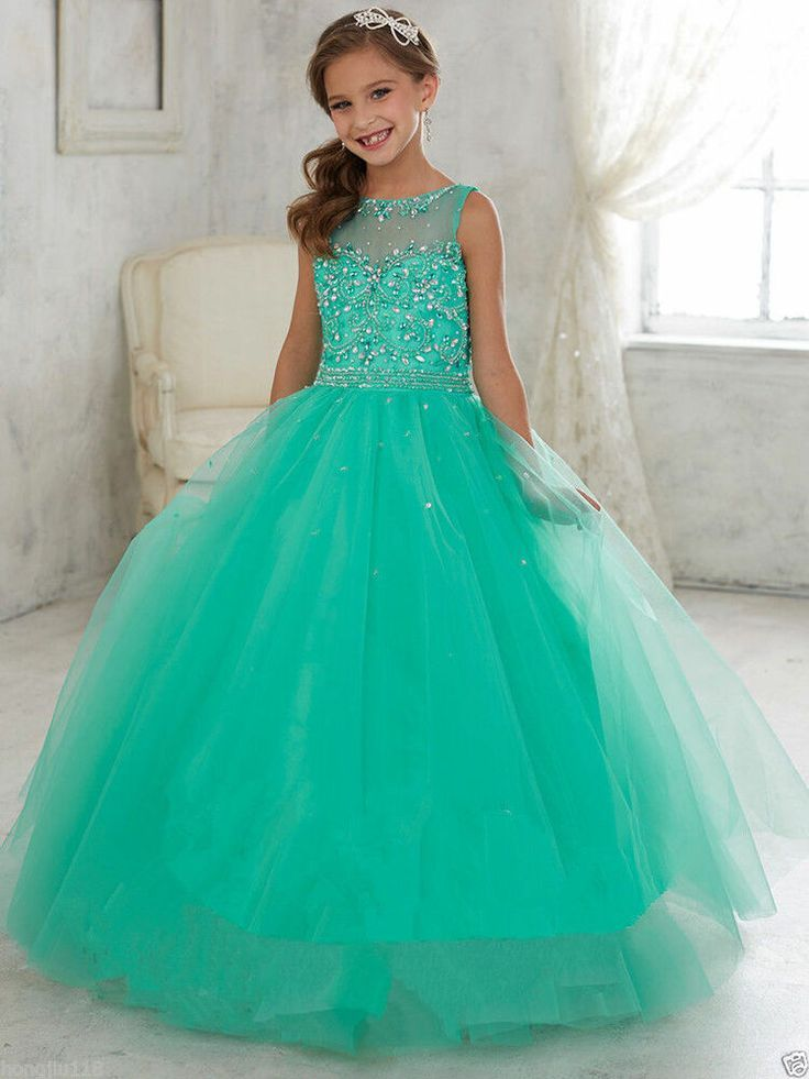 Details about party prom birthday dress tulle flower girl