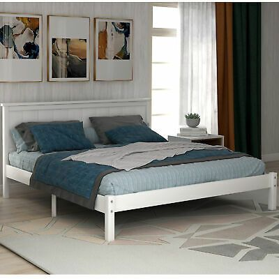 Queen Size Wood Platform Bed w Headboard Wood Slat Mattress Foundation Bedroom