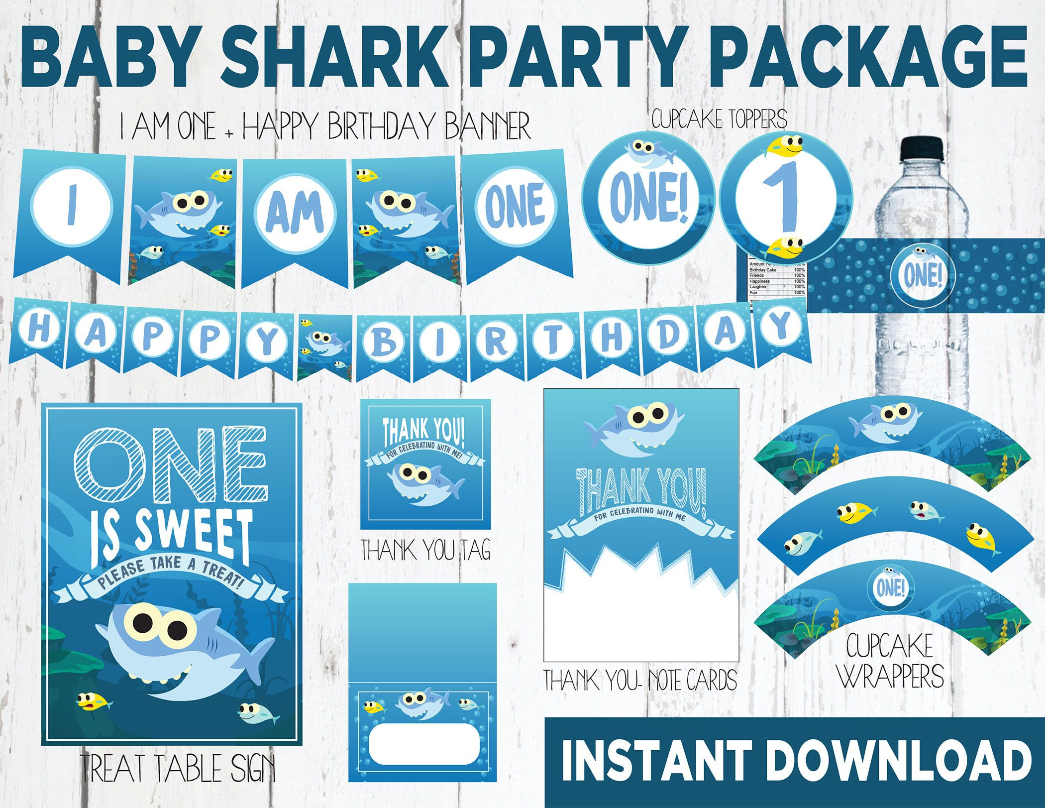 Baby Shark INSTANT DOWNLOAD Decor Package First Birthday From Super Simple Songs
