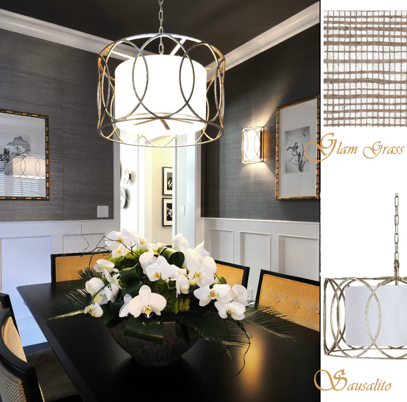 Grasscloth and light fixture for the home pinterest for Sillas comedor amarillas