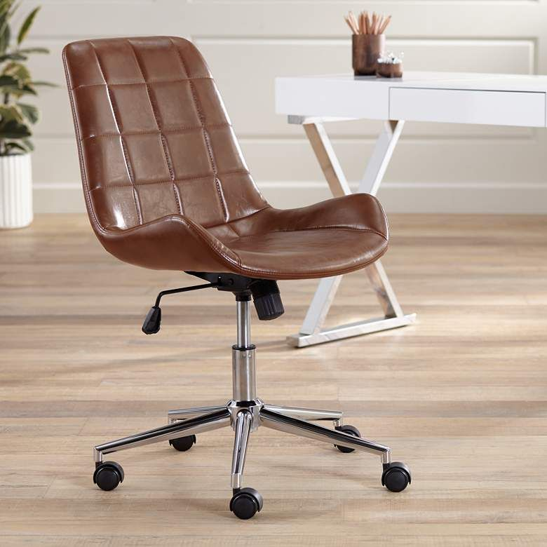 Daniel Brown Faux Leather Adjustable Office Chair 63k81 Lamps Plus In 2020 Adjustable Office Chair Leather Office Chair Office Chair Design