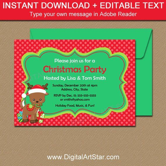 Downloadable Christmas Party Invitations with Reindeer - EDITABLE