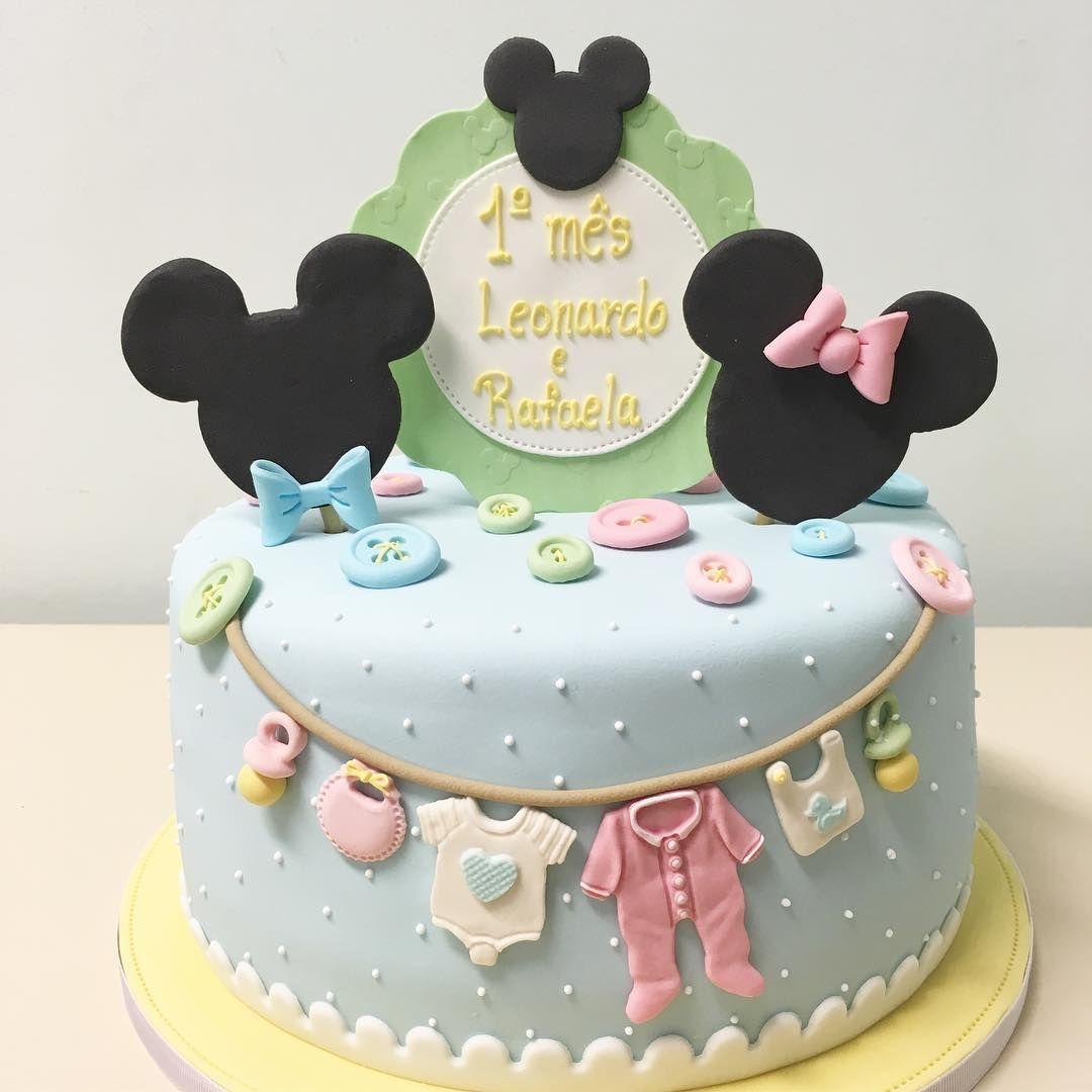 Bom dia com bolo mesversário no tema Baby Minnie e Mickey! #bolo ...