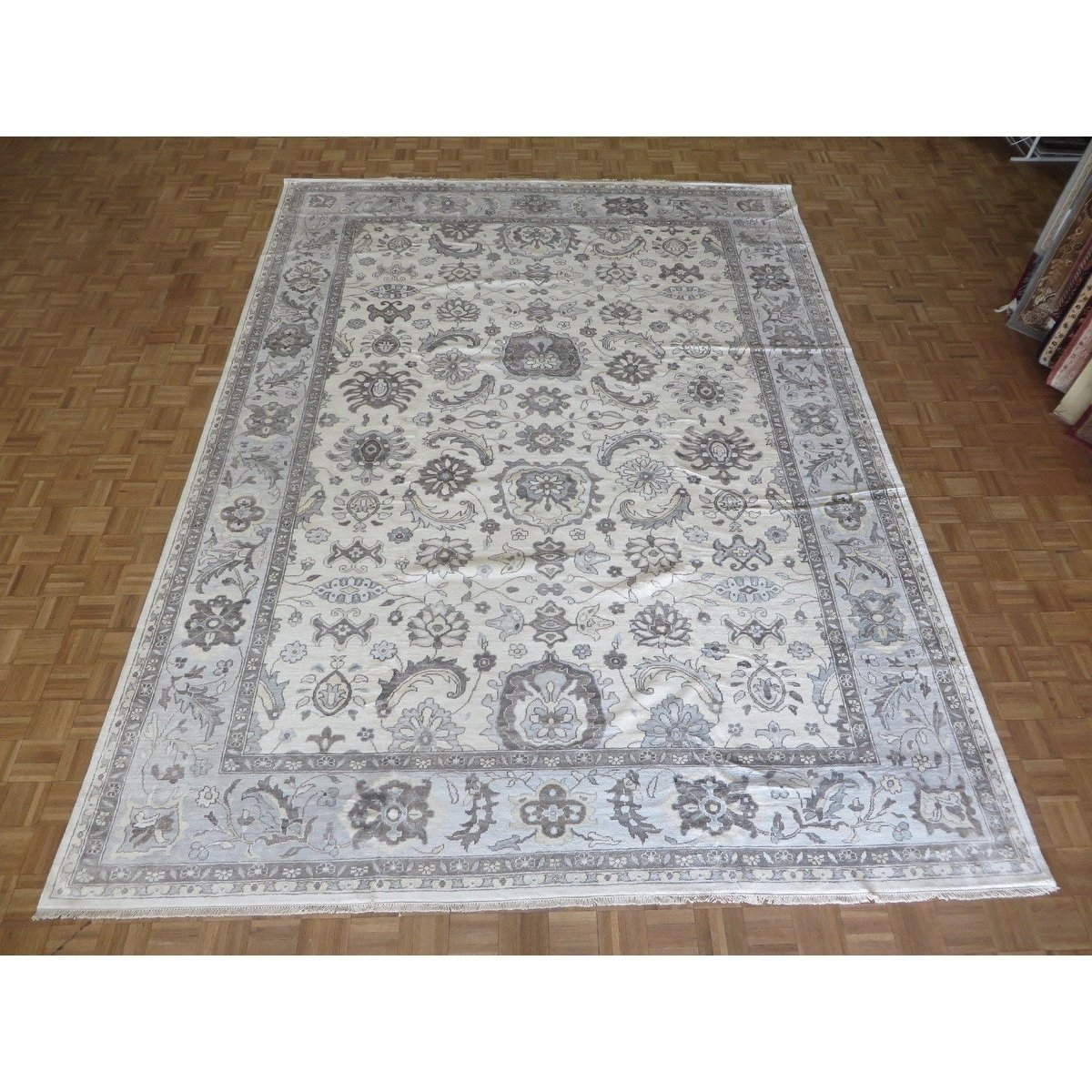 Hand Knotted Ivory Turkish Bamboo Silk Oushak With Bamboo Silk Oriental Rug 10 3 X 14 1 10 3 X 14 1 Viscose Silk Area Rugs Bamboo Silk Colorful Rugs