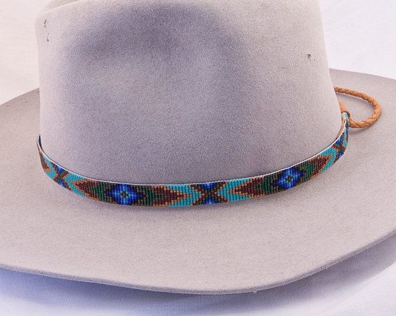 e91331494f4910 Beaded Hatband, Handmade by the Artist, Geometric Design in Dark Gold,  Chocolate Brown, Matte Gold, Emerald Green and Blues.