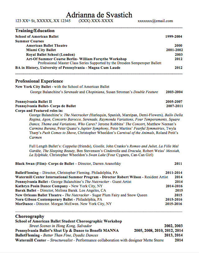 Pin By Ashley Schepers On Dancing Princess Dance Resume Resume Template Resume