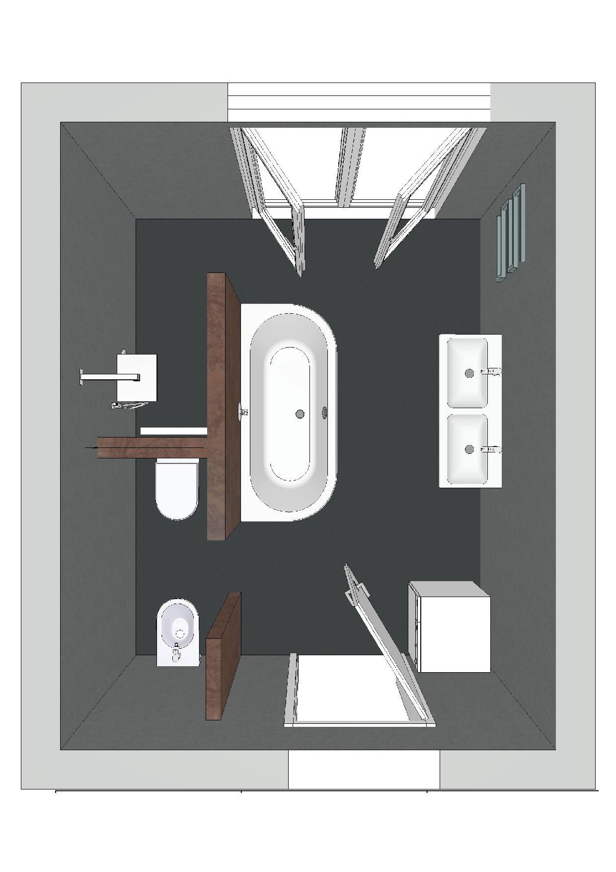 Ein Badezimmer Mit Einer Badewanne Die Auf Drei Seiten Freisteht Bad Grundriss Badezimmerideen Badezimmer