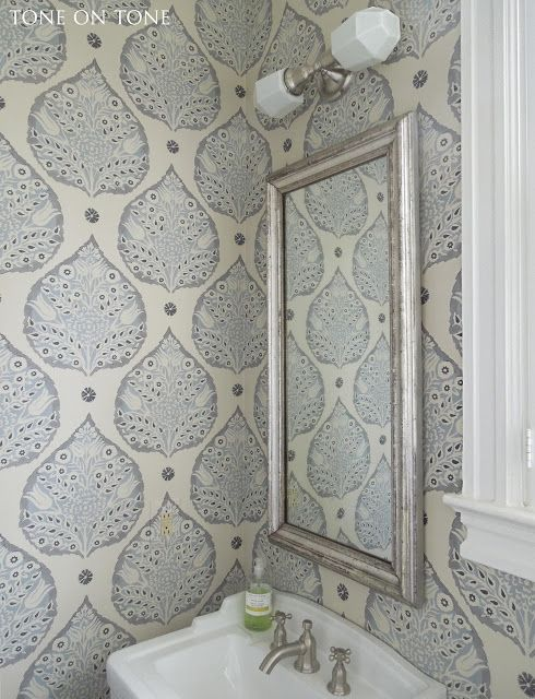 Tone on Tone: Powder Room Renovation -- Galbraith and Paul Lotus wallpaper