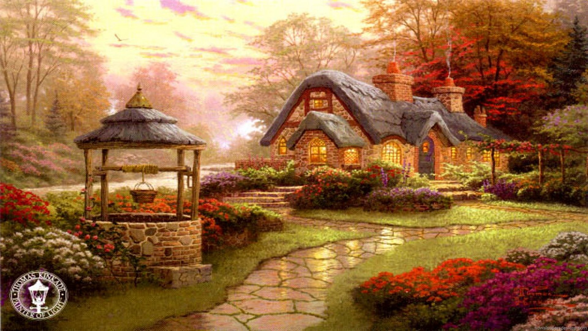 Thomas Kinkade Autumn Paintings | Thomas Kinkade Wallpaper, Paintings, Art, HD, Desktop, 1920x1080
