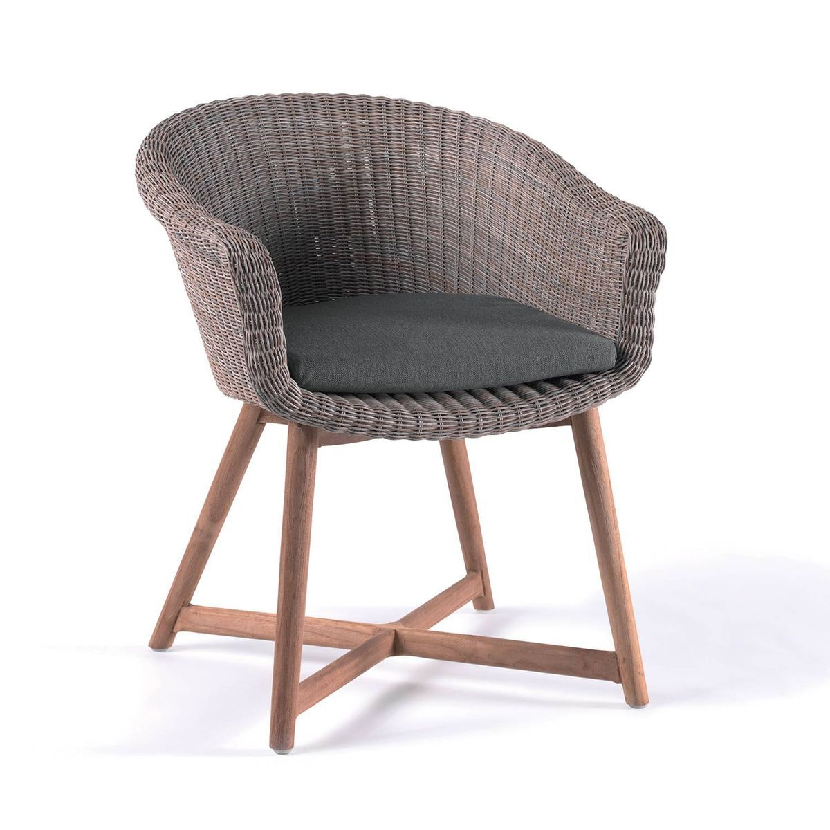 Fauteuil De Table En Resine Tressee Brun Chine Galveston Fauteuil De Table Chaise De Bureau Confortable Et Fauteuil