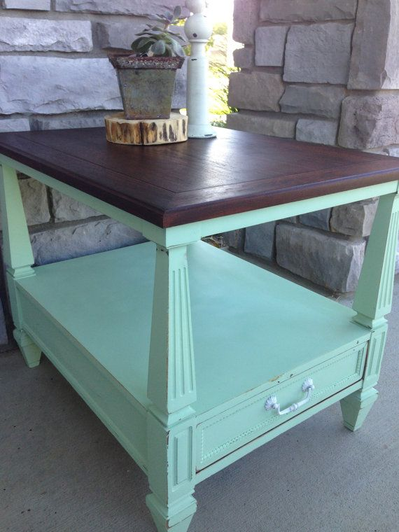 Mint green refinished side table home sweet home for Mint green furniture paint