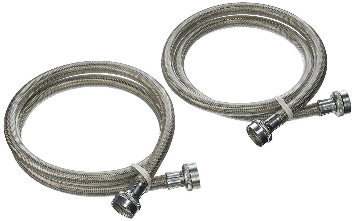 Parts And Accessories 99697 2 Universal Stainless Steel Washing Machine Braided Fill Hoses Hot Cold Oem 4ft Stainless Steel Washing Machine Steel Stainless