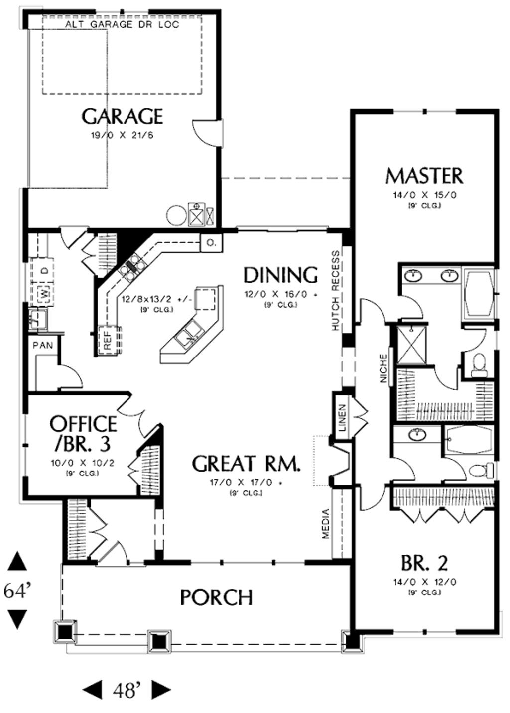 Like the floor plan reversed without garage attached for Great room floor plans single story