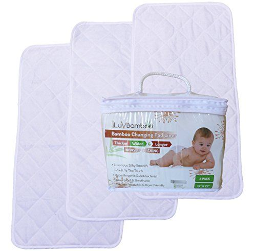 Ed Iluvbamboo New Best Grip Thicker Wider And Longer 14 X 27 Waterproof Changing Pad Liners 3 Pack Mat To Cover Your Table Mattress