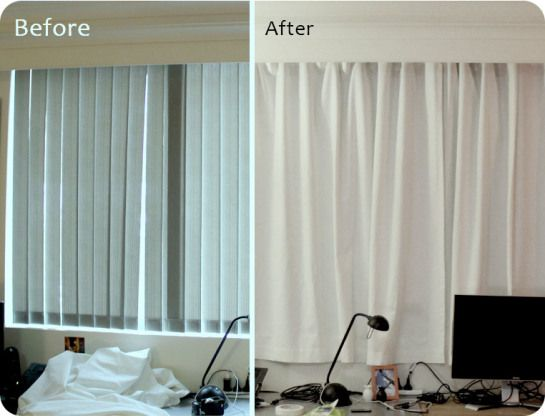 Rental Apartment Window Curtain Makeover D I Y Apartment Decor Vertical Blinds Makeover Apartment Curtains