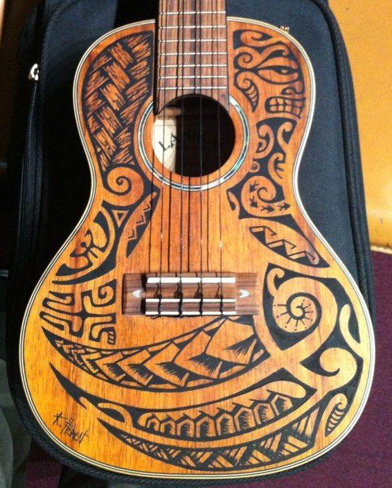 Dessin De Guitare Polynesien Guitare Dessin Art De La Guitare Guitares Peintes