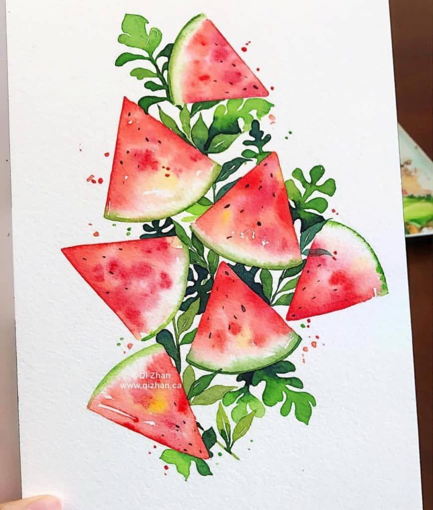 Watercolor Watermelon Body Pillow