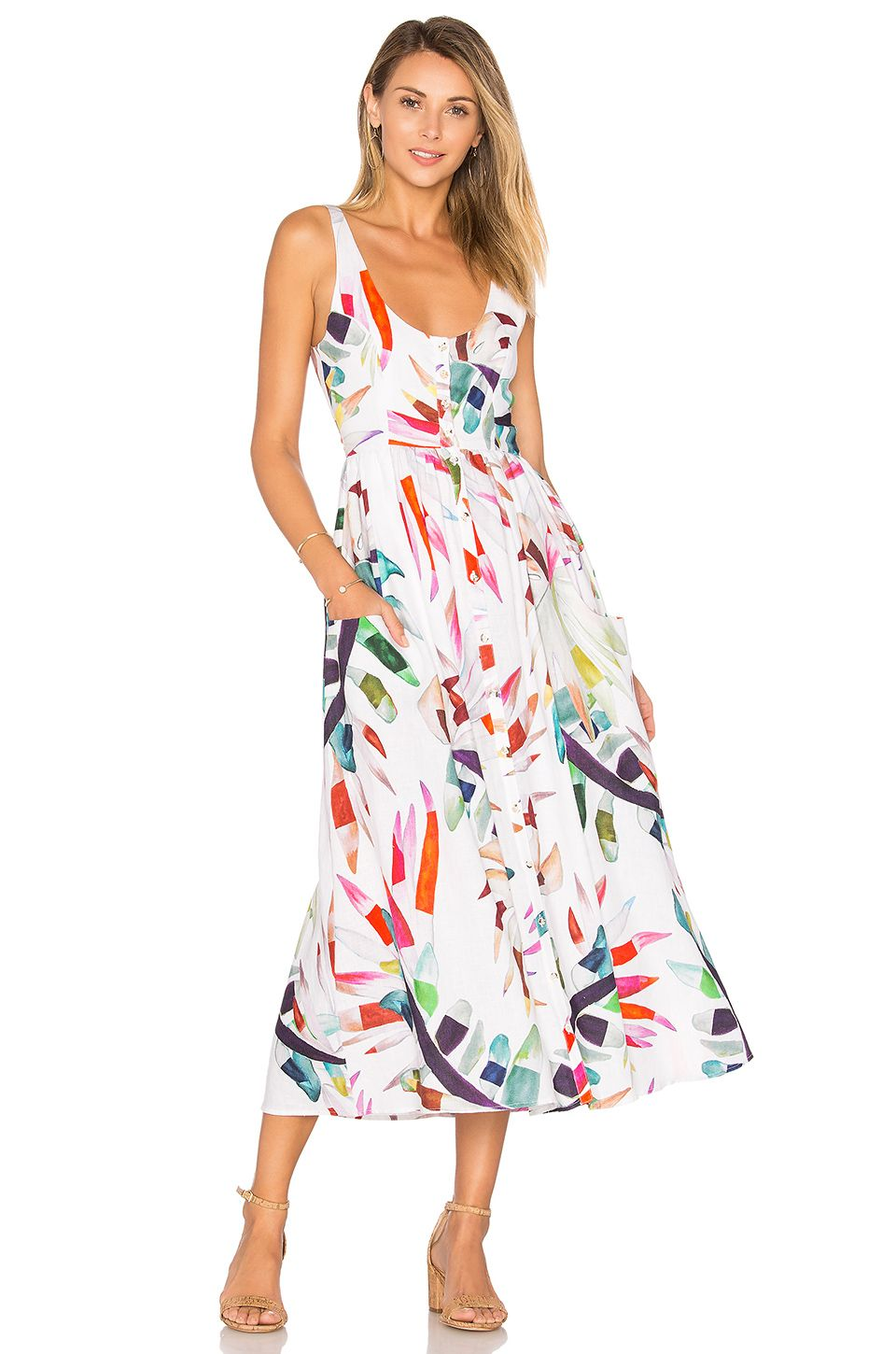 Mara Hoffman Placket Front Midi Dress In White Multi