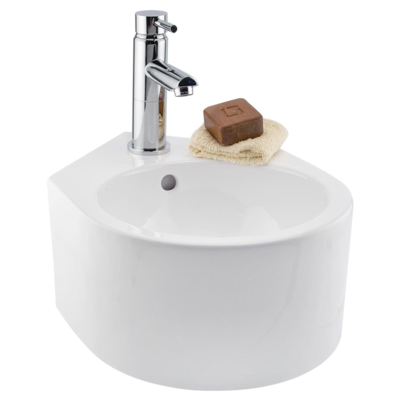 Minimalist Porcelain Wall Mount Corner Sink