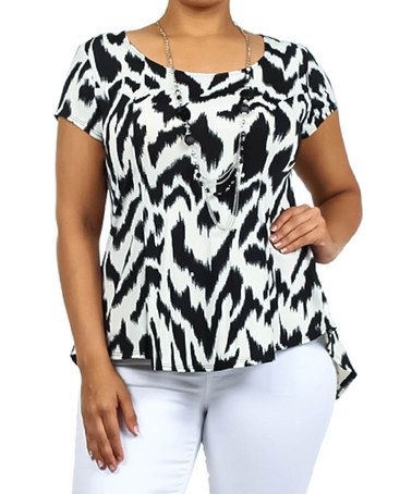 Loving this Black & White Animal Blouson Top & Necklace - Plus on #zulily! #zulilyfinds