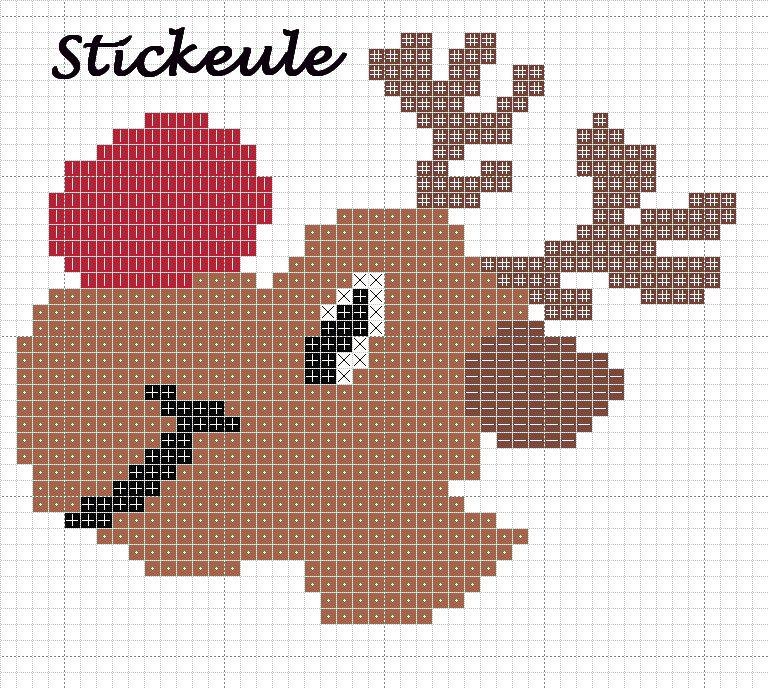 Stickbild Weihnachten Rudolph Sticken Stricken Häkeln