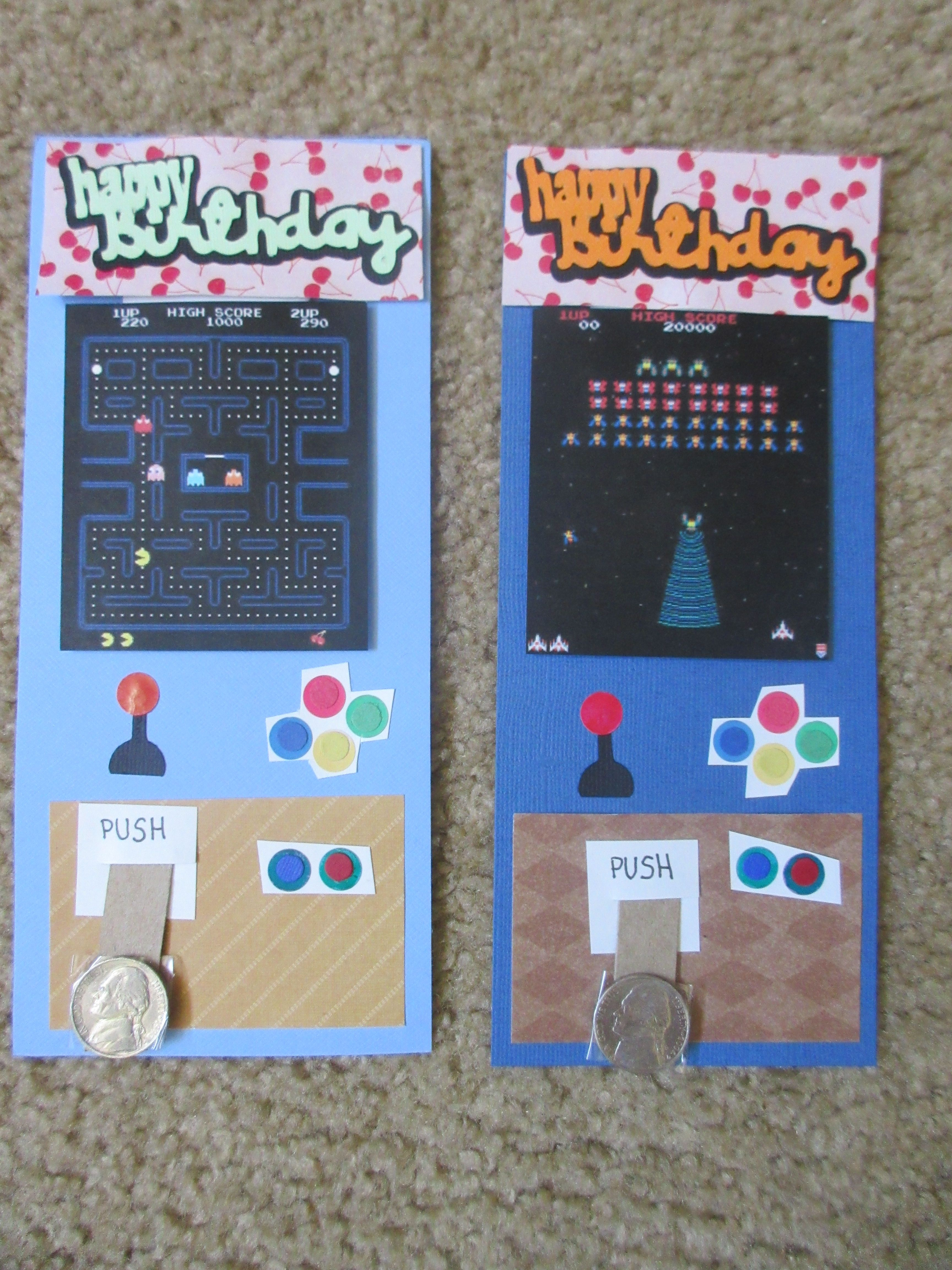 Arcade birthday card with sliding gift from coin slot