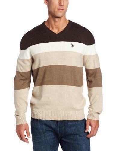 Polo Assn U.S Mens Stripe Color Block V-Neck Sweater