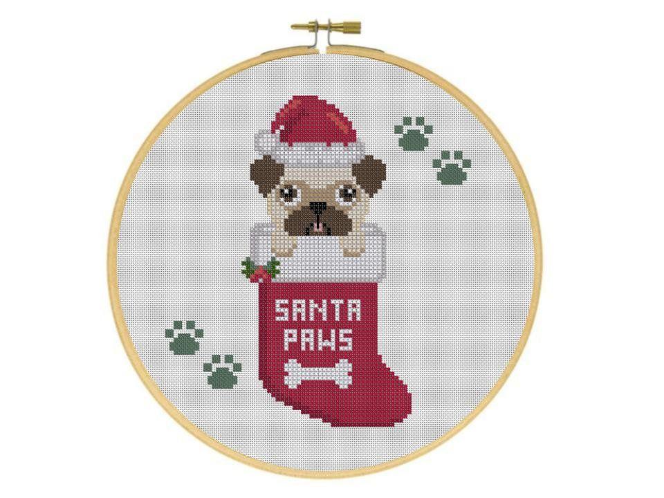 Santa Paws Pug Puppy Dog in Christmas Stocking Holiday