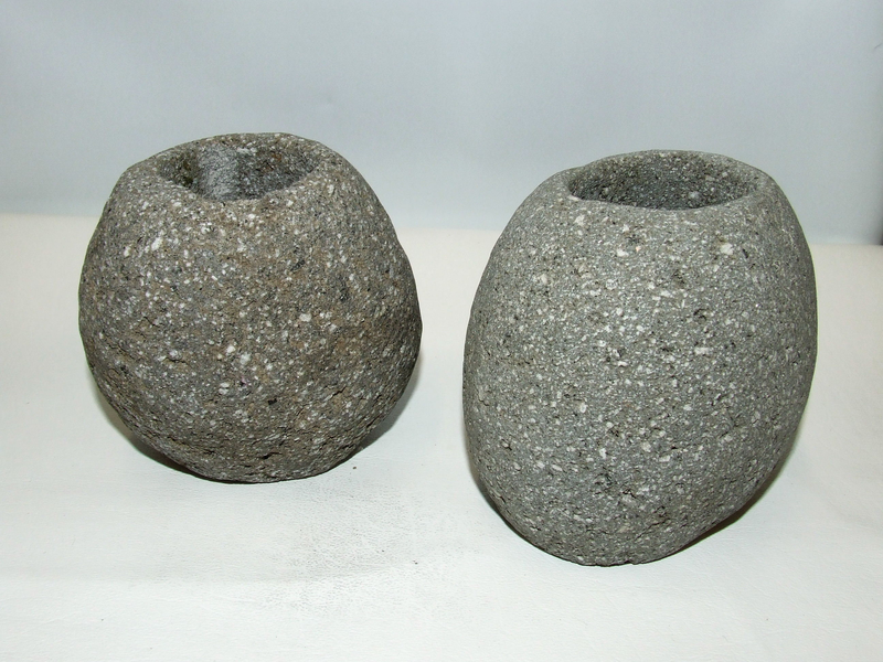 Lot of 2 Gray Natural Stone Rock Tealight Votive Candle Holder