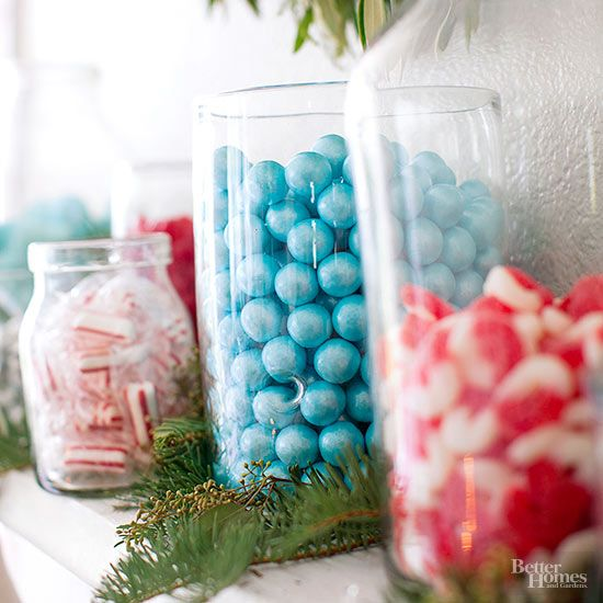 Have colorful candy on hand? Find some clear glass containers and fill 'em up! We filled glass vases, canning jars, and apothecary jars with hard candies and grouped them on a mantel. This concept also works with just one container. Start to finish: 5 minutes