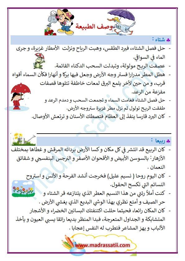 وصف الطبيعة في الفصول الأربعة Madrassatii Com Arabic Alphabet For Kids Learn Arabic Alphabet Learning Arabic