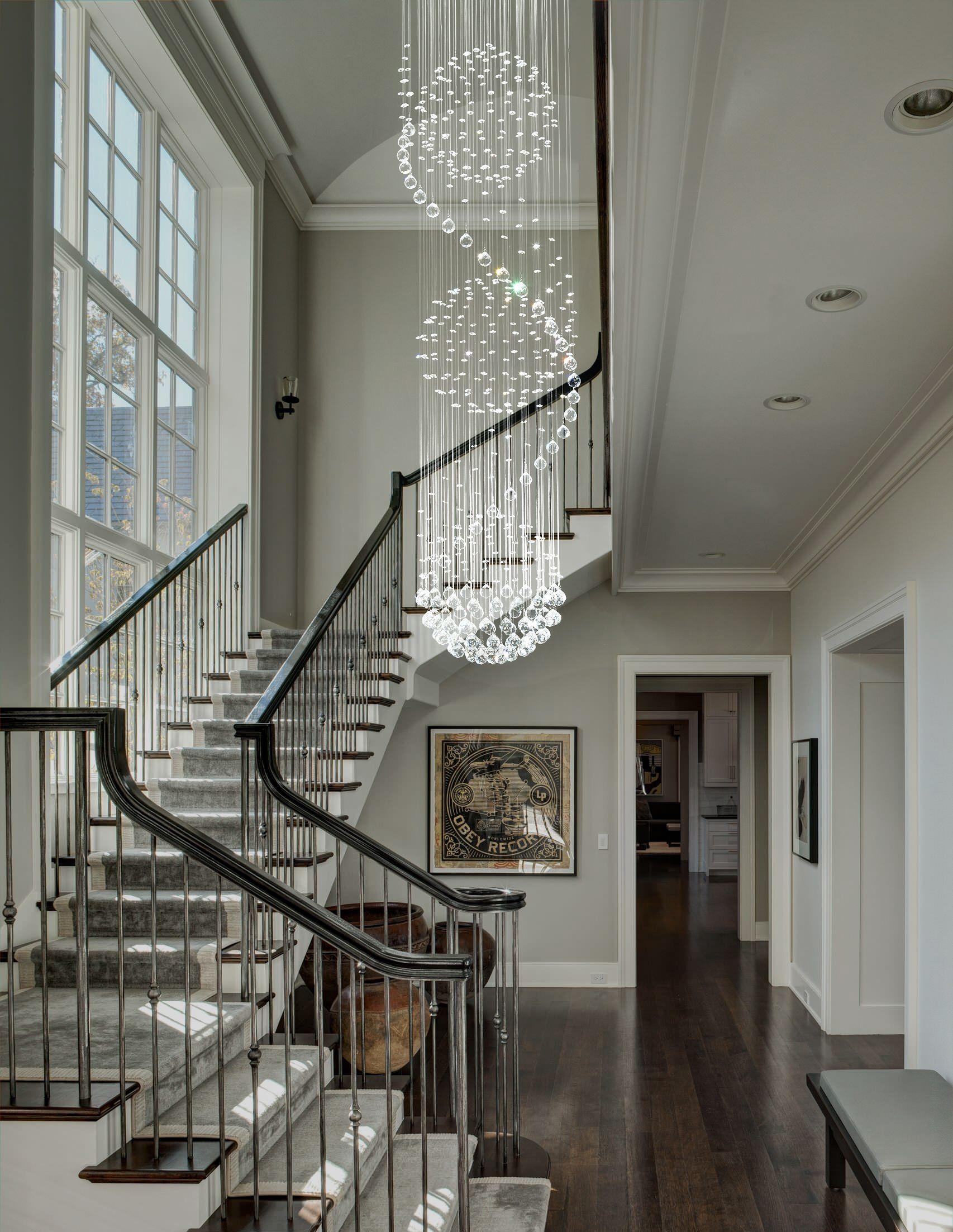 Modern Spiral Three Sphere Raindrop Crystal Chandelier Lighting Staircase Chandelier Staircase Design Foyer Design