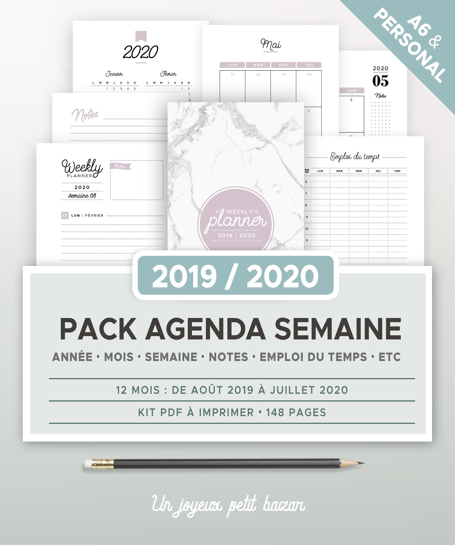 Calendrier Can 2021 Pdf Kit agenda semainier 2020 2021 à imprimer avec calendrier | Etsy