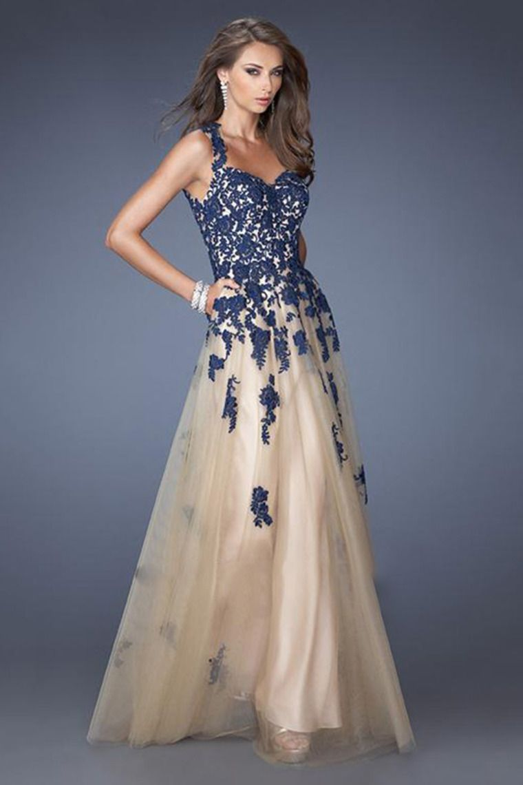 Blue tulle lace prom dress