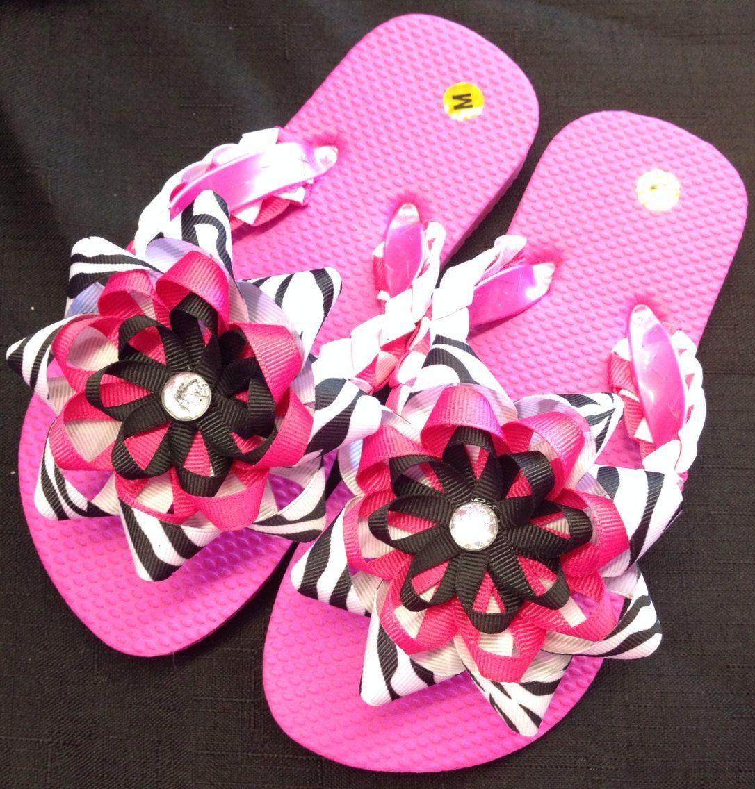 Hot pink zebra girls flip flops child m size by meganasikainen