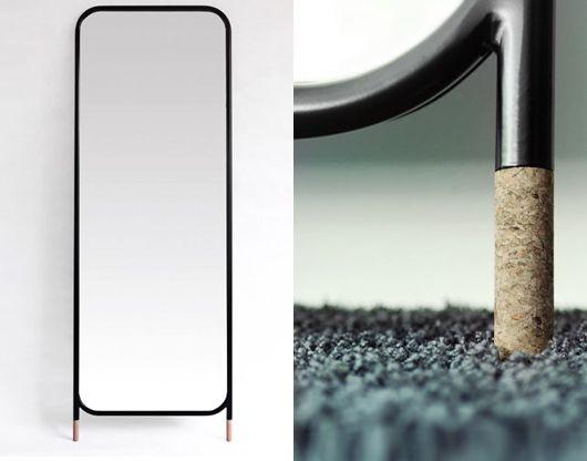 Mirror with cork feet