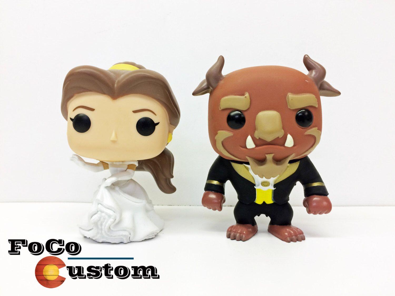 Custom Funko Pop Beauty And The Beast Wedding Cake Toppers