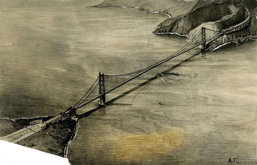 This illustration shows the proposed Golden Gate Bridge prior to its approval by the War Department, which owned land on both sides of the channel. Photo: Chronicle Archives