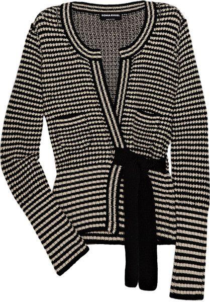 Sonia Rykiel Striped Wool and Cashmereblend Cardigan in Black