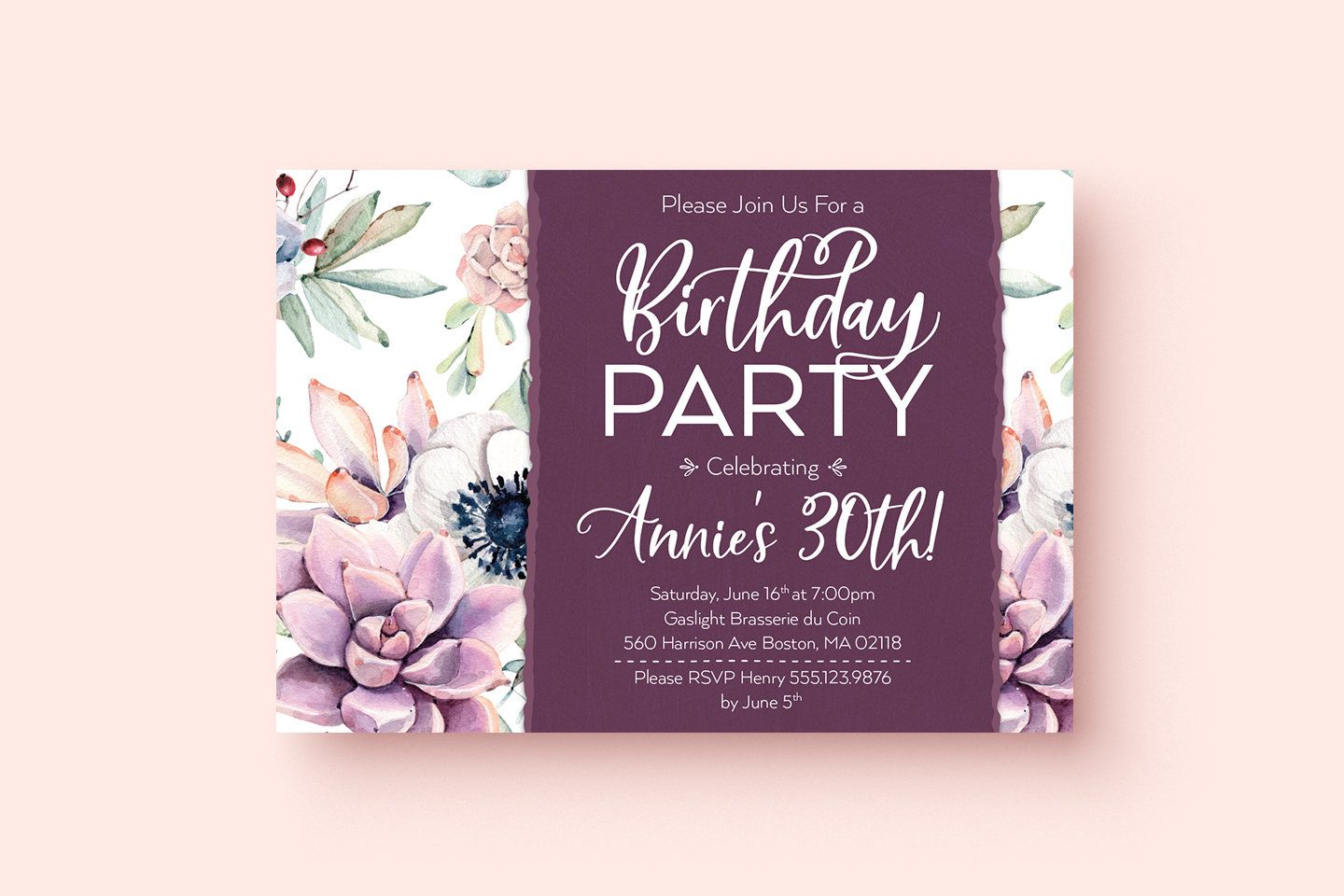 Printable Succulent Floral Birthday Invitation 21st 30th 40th