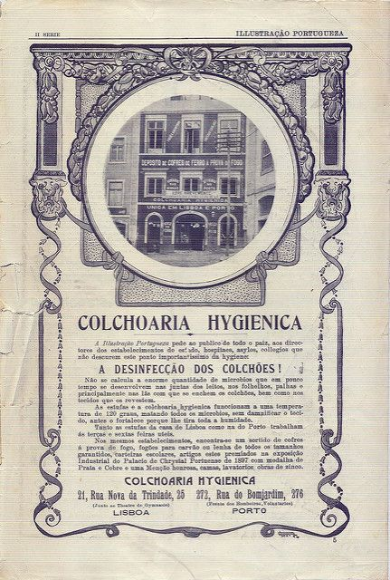 Beautiful CenturyClick image for 1560 x 2315 size. Ad for Hygienic Matresses. Portuguese magazine Ilustração Portugueza, 1910s.